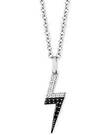 """Black Diamond (1/10 ct. t.w.) & White Diamond (1/10 ct. t.w.) Cruella Lightening Bolt 18"""" Pendant Necklace in Sterling Silver & Black Rhodium-Plate"""