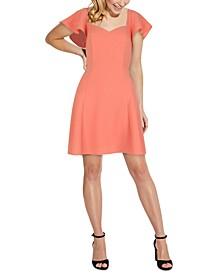 Flutter-Sleeve Fit & Flare Dress