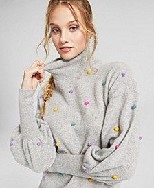 Cashmere Blouson-Sleeve Pop Sweater, Created for Macy's