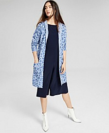 Cashmere Printed Open-Front Hoodie, In Regular and Petites, Created for Macy's