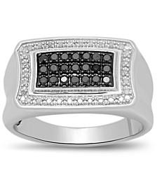 Men's Black & White Diamond Ring (1/2 ct. t.w.) in Sterling Silver