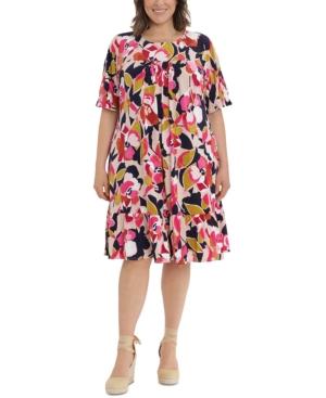 Plus Size Printed Jewel-Neck Drop-Shoulder Shift Dress