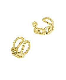 Women's Figaro 14K Gold Plated Chain Ear Cuff Earrings
