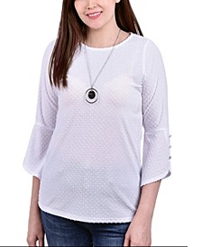 Petite 3/4 Tulip Sleeve Top with Necklace