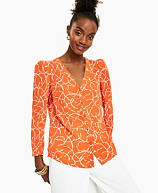 Printed Puff-Shoulder Blouse, Created for Macy's