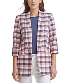 Plaid Slit-Sleeve Shawl-Collar Blazer