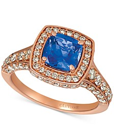 Crème Brûlée® Blueberry Tanzanite (1-3/8 ct. t.w.) & Nude Diamond (1-3/8 ct. t.w.) Halo Ring in 14k Rose Gold