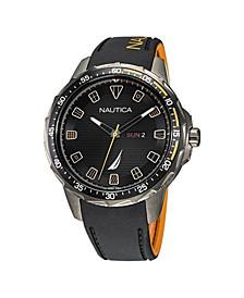 Men's Analog Black Silicone Strap Watch 48 mm