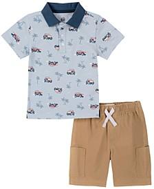 Toddler Boys 2-Piece Safari Print Short Sleeve Polo Shirt and Twill Shorts Set