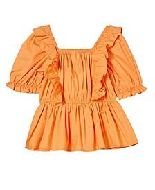 Little Girls Tessa Shirred Short Sleeve Top