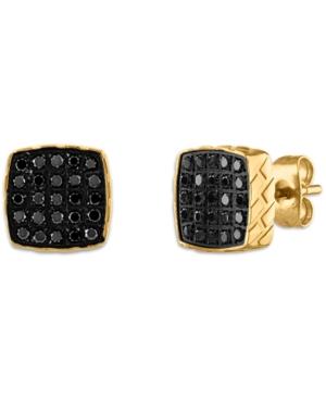 Black Diamond Earrings (1/4 ct. t.w.) in Stainless Steel
