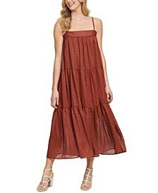 Metallic Thread Tiered Maxi Dress