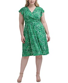 Plus Size Printed Ruched-Waist Dress
