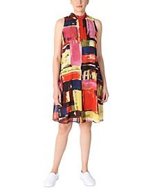 Petite Printed Mock-Neck Trapeze Dress