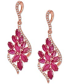 Ruby (3-1/5 ct. t.w.) & Diamond (1/4 ct. t.w.) Floral Cluster Drop Earrings in 14k Rose Gold (Also in Sapphire & Emerald)