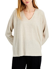 Organic Linen & Cotton V-Neck Sweater