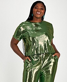Trendy Plus Size Sequin Cropped Top, Created for Macy's