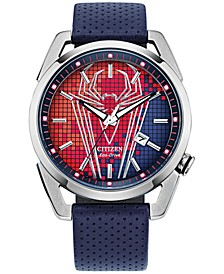 Eco-Drive Men's Spider-Man Blue Leather Strap Watch 42mm