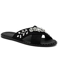 Women's Faken Embellished Slide Sandals