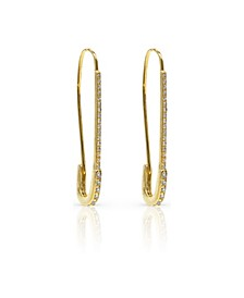 Pave Safety Pin Drop Earrings
