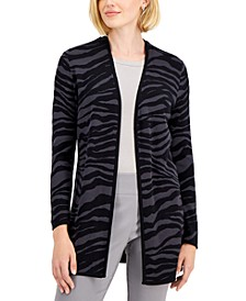 Zebra-Print Long Open Cardigan, Created for Macy's