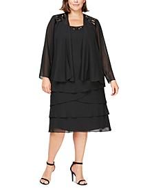 Plus Size Sequined Dress & Jacket