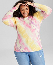 Plus Size Tie-Dyed Cashmere Sweater, Created for Macy's