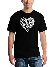 Men's Paw Prints Heart Word Art T-shirt