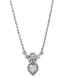 Silver-Tone Angel Crystal Ab Heart Necklace