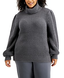 Plus Size Ribbed Turtle-Neck Sweater, Created for Macy's