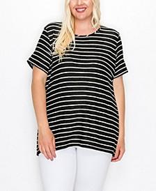 Plus Size Pointelle Stripe Short Sleeve Button Back T-shirt