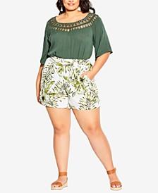 Trendy Plus Size Paradise Palm Shorts