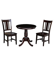 """30"""" Round Top Pedestal Dining Table with 2 Remo Splatback Chairs, 3 Piece Dining Set"""