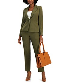 Solid One-Button Pantsuit