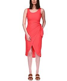 Eyelet-Embroidered Faux-Wrap Dress, Regular & Petite Sizes