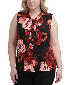 Plus Size Floral-Print Tie-Neck Blouse