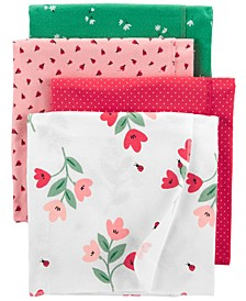 Baby Girls 4-Pack Printed Cotton Blankets