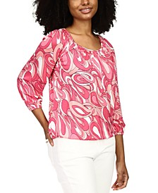 Printed 3/4-Sleeve Top, Regular & Petite Sizes