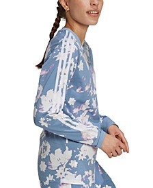 Women's Floral-Print Side-Striped Top