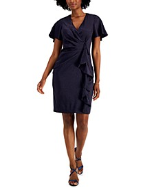 Surplice Side-Ruffle Dress