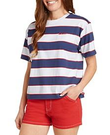 Juniors' Striped Boyfriend T-Shirt