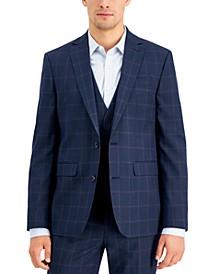 Men's Slim-Fit Blue Windowpane Plaid Suit Jacket, Created for Macy's