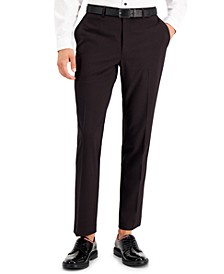 INC Men's Slim-Fit Burgundy Solid Suit Pants, Created for Macy's