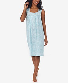 Women's Cotton Lace-Trim Jersey Nightgown