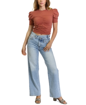 Ruched Puff-Sleeve T-Shirt