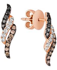 Multicolor Diamond Drop Earrings (1/2 ct. t.w.) in 14k Rose Gold