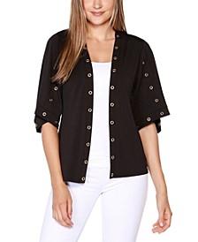 Black Label Petite Embellished 3/4 Sleeve Cardigan Top