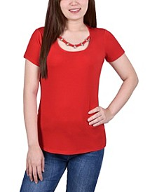 Women's Short Sleeve Top with Ring Neck Details