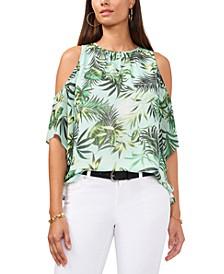 Tropical-Print Cold-Shoulder Top