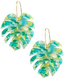 Acetate fall wide leaf drop earrings